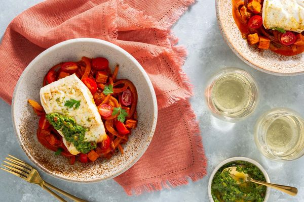 Peruvian-style halibut with lime and sweet potato