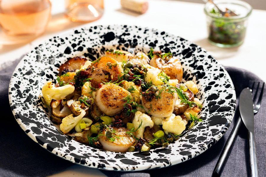 Sea scallops with roasted cauliflower and caper-raisin tapenade