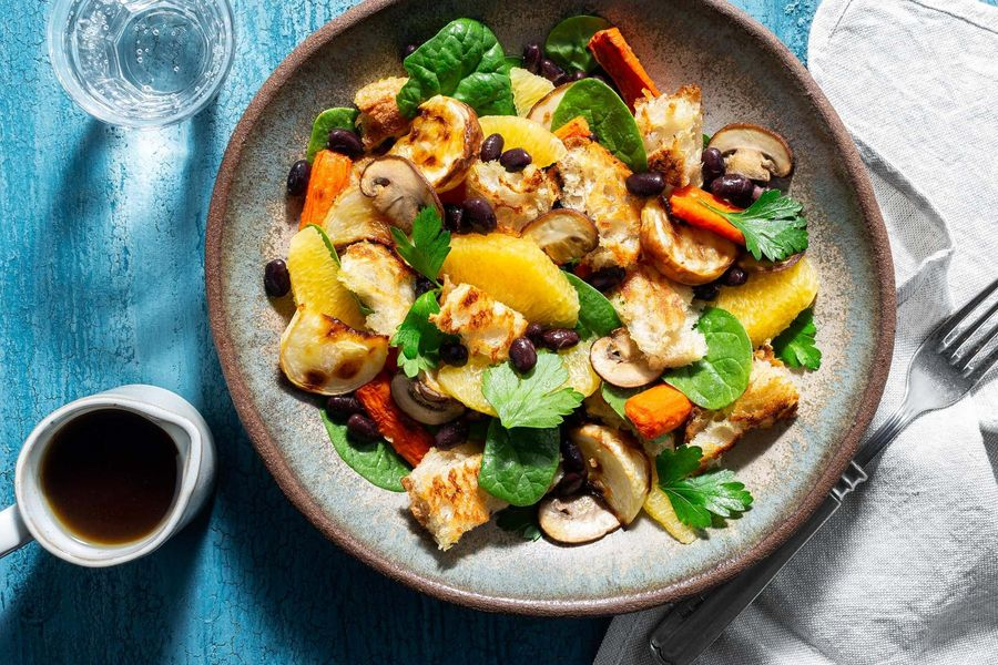 Root vegetable panzanella with black beans and cremini mushrooms