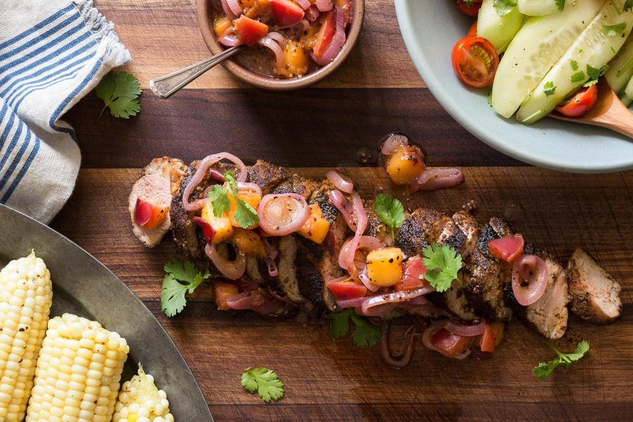 Grilled pork tenderloin with nectarine mostarda and corn on the cob