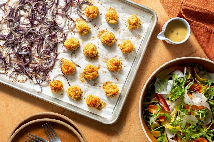 Sheet pan chicken meatballs with root vegetable salad