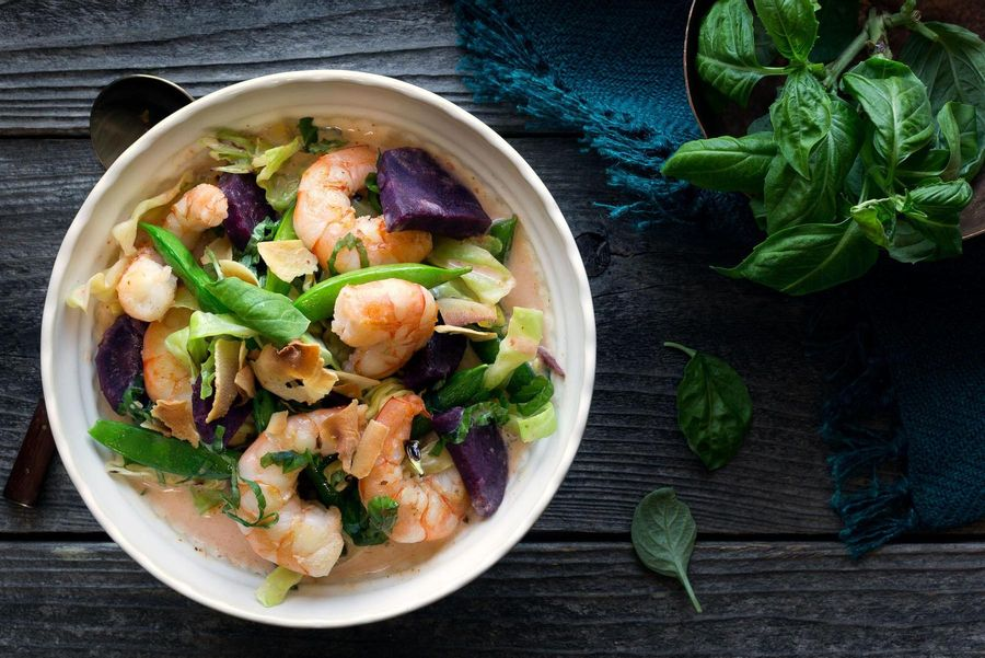 Shrimp coconut curry with purple sweet potato