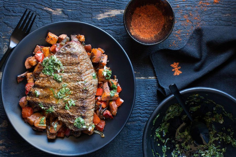 Steaks with sweet potato hash browns and chimichurri