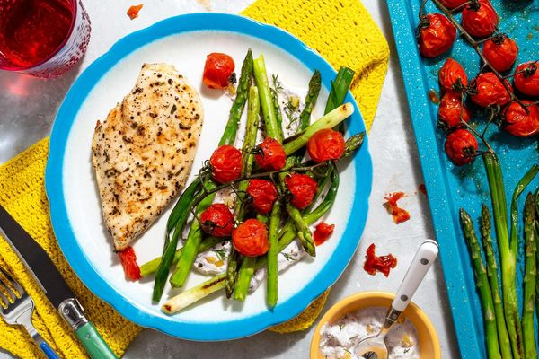 Roasted lemon-pepper chicken and asparagus with yogurt-feta smear