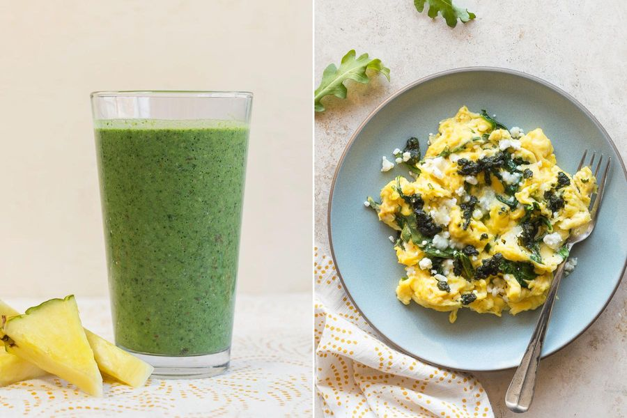 Kale-pineapple smoothies & Scrambled eggs with goat cheese and basil pistou