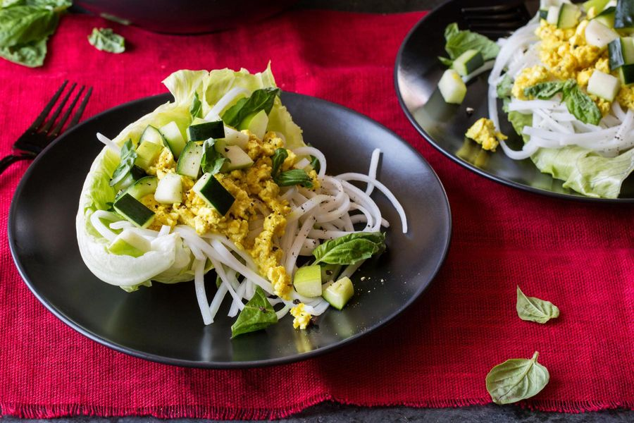Lemongrass-tofu lettuce cups with cucumber salad and rice noodles