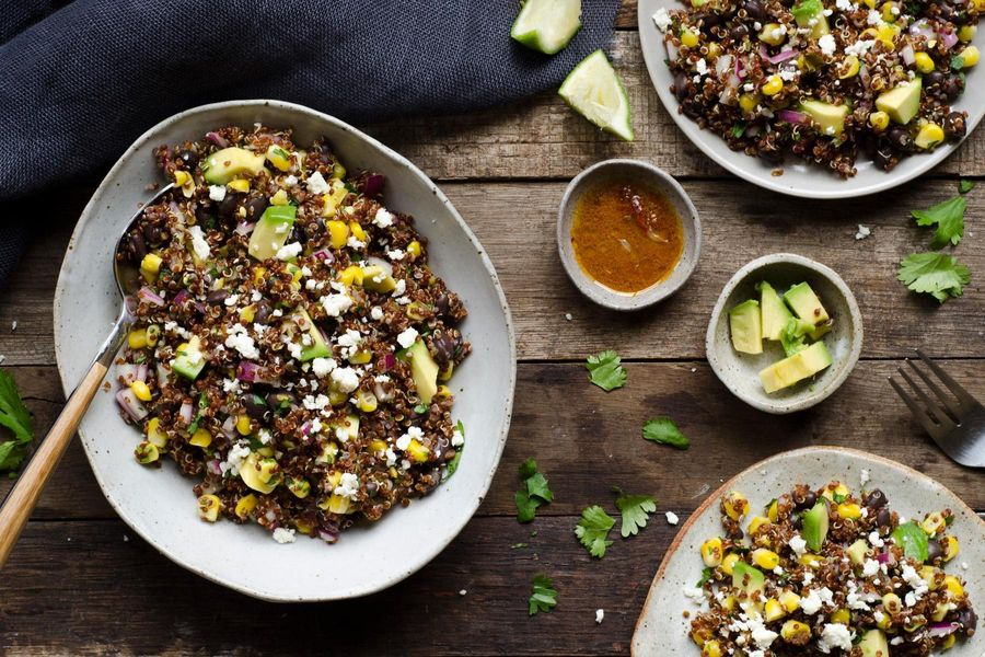 Spicy black bean and fresh corn quinoa with pickled jalapeno and chipotle