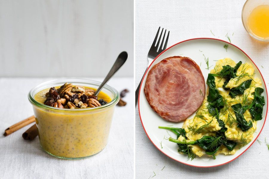 Two Breakfasts: Overnight chia, pumpkin pudding & Green eggs and ham