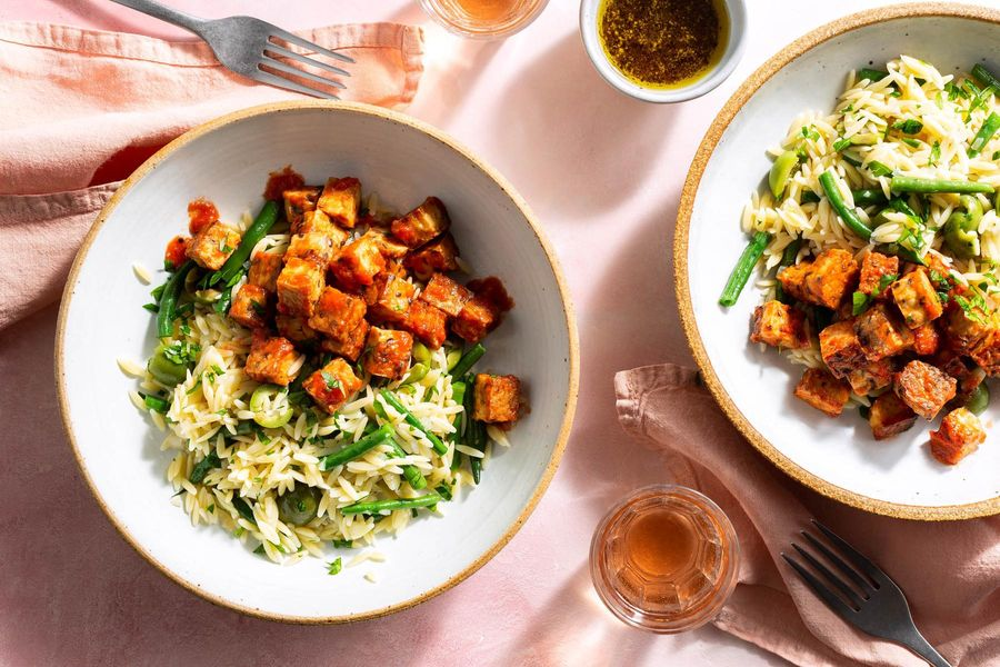 "Barcelona orzo salad with spicy tempeh ""patatas bravas"""