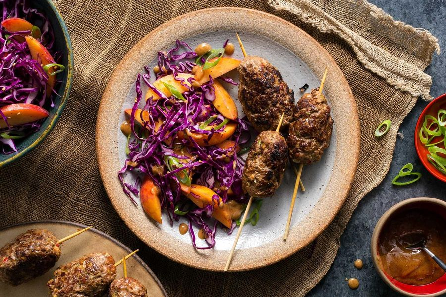 Quick Korean beef skewers with sesame-cabbage slaw