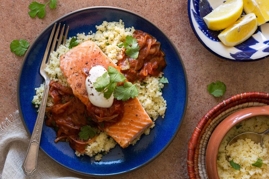 Chraime-spiced salmon with mint couscous and lemon-yogurt sauce
