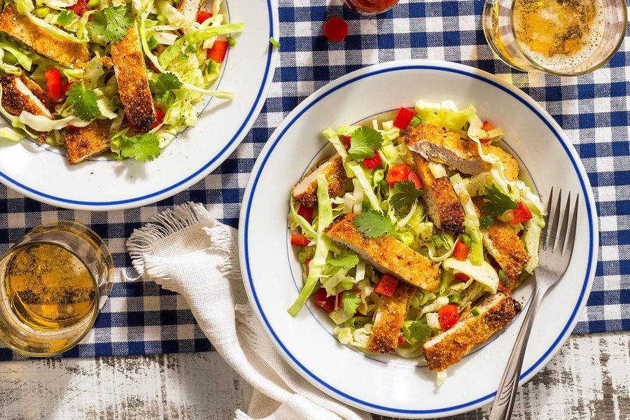 Pan-fried chicken salad with cabbage and bell pepper