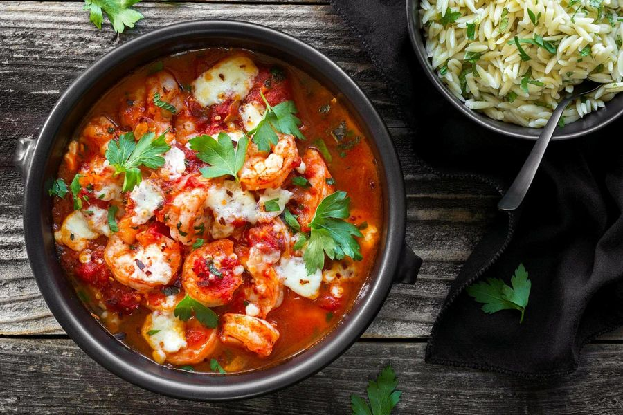 Baked shrimp with tomato, feta, and lemon-mint orzo