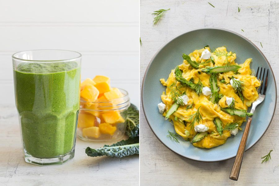 Kale-mango smoothies with turmeric & Asparagus and goat cheese scramble