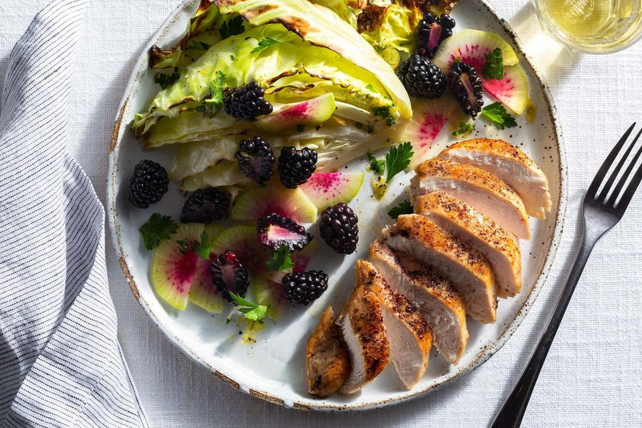 Sumac chicken with berry and roasted cabbage salad