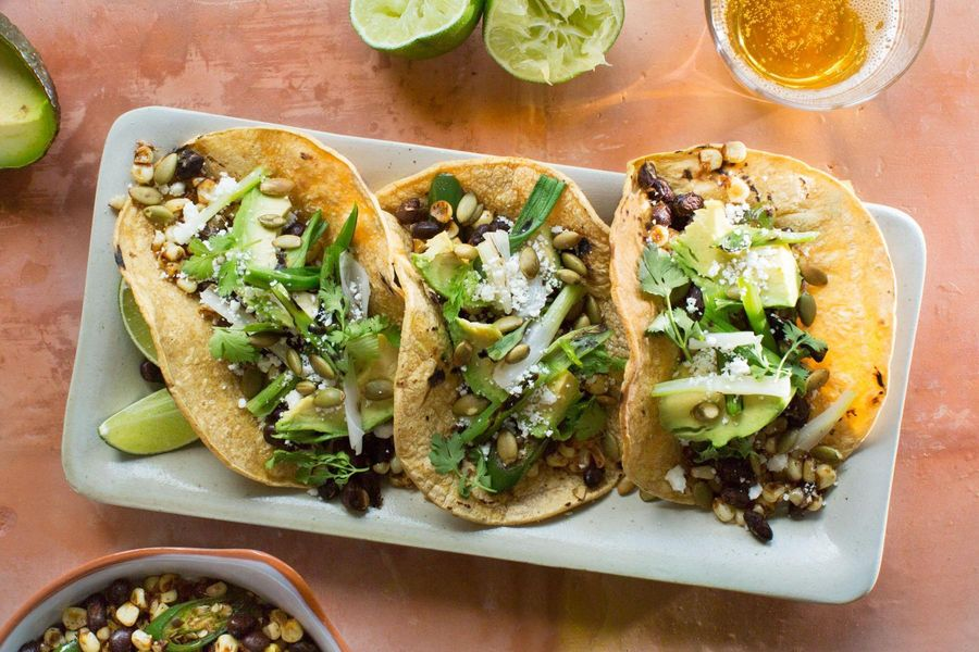 Black bean tacos with corn and queso fresco