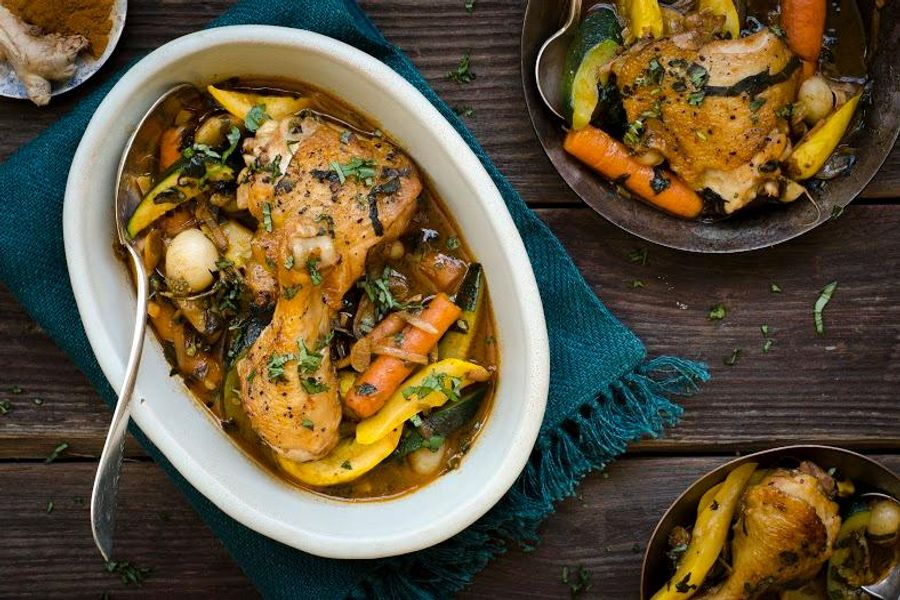 Braised cinnamon chicken with summer squash and baby turnips