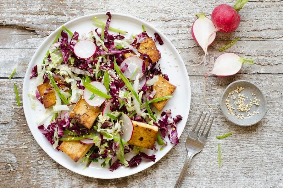 Seared sesame tofu salad with radicchio, cabbage and snow peas