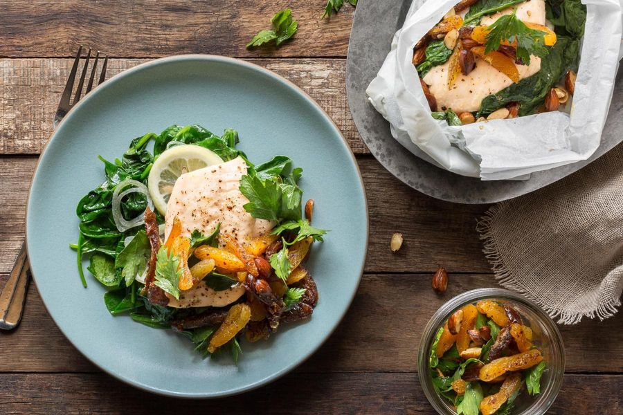 Trout in parchment with warm date and apricot salad