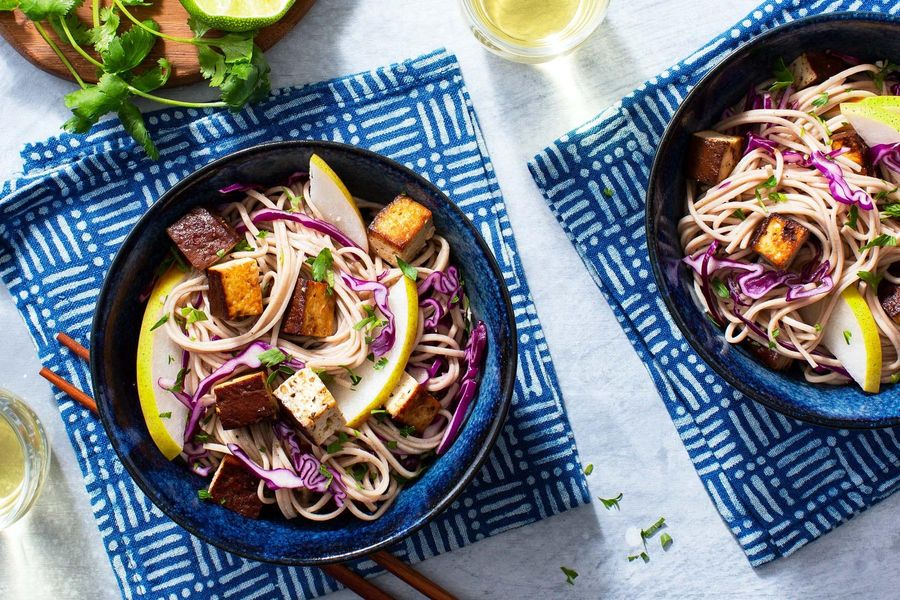 Braised tofu and soba noodle salad with miso-tamari dressing
