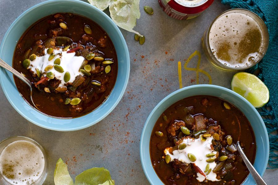 Spicy chorizo and tomatillo chili with coconut and lime