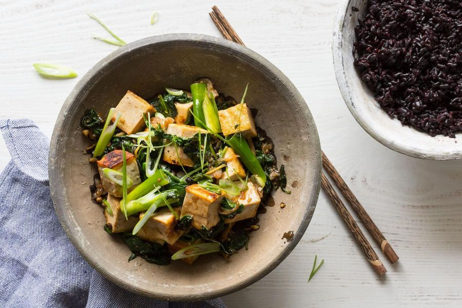 Black-pepper tofu with coconut forbidden rice