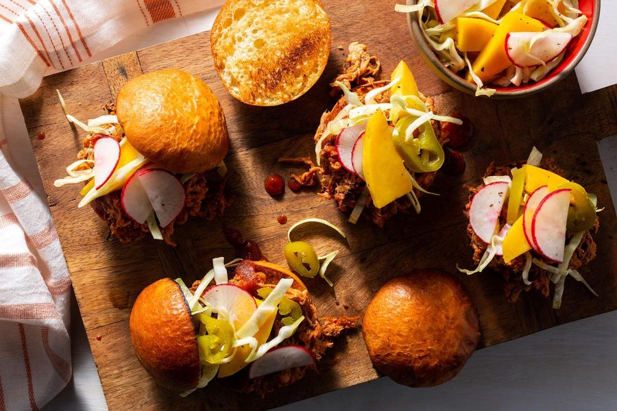 Spicy barbacoa pulled-pork sliders with mango slaw
