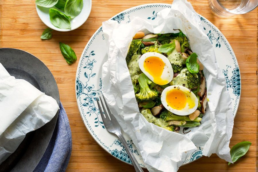 Vegetables In Parchment With Green Goddess Dressing And