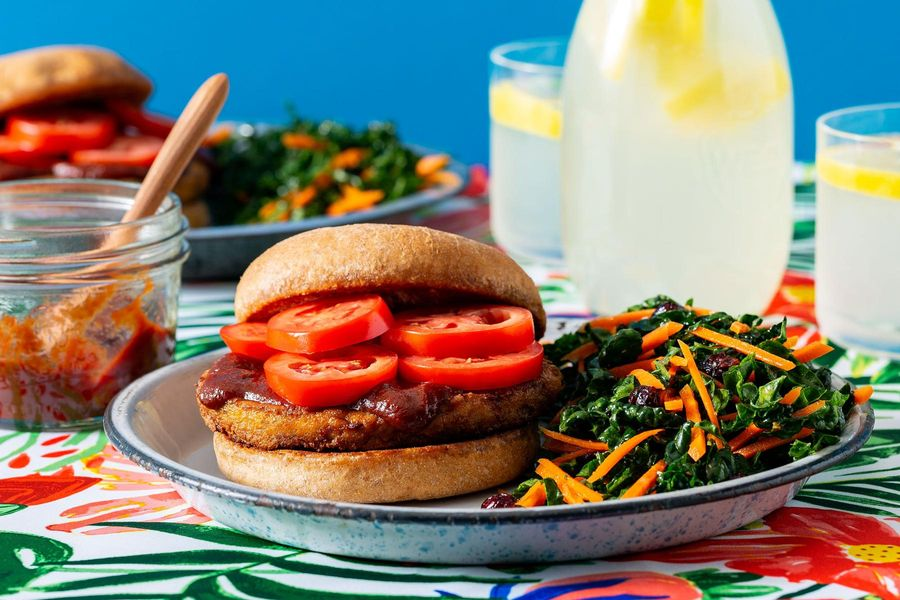 Superfast barbecue tofu burgers with Kale Slaw image