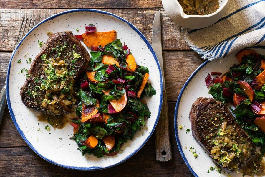 Seared steak and porcini sauce with sweet potatoes and chard