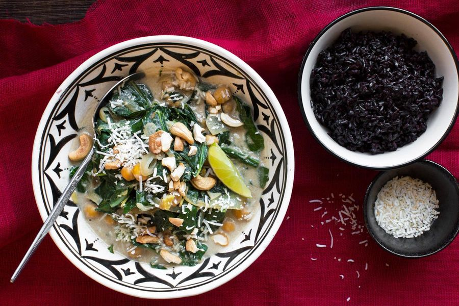 North Indian chickpea curry with collard greens and black rice