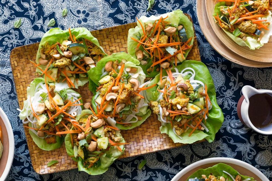 Thai turkey lettuce cups with rice noodles