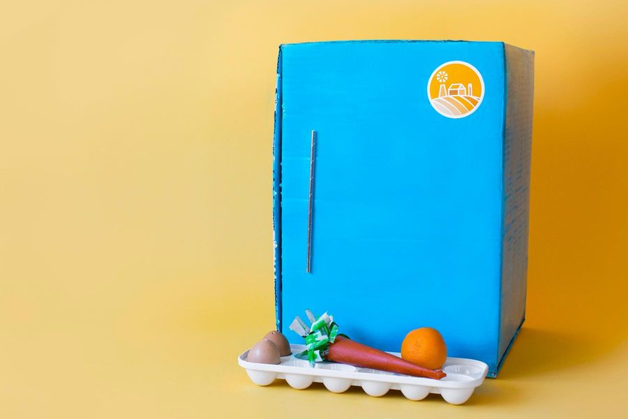 Turn your Sun Basket box into a Make-Believe Refrigerator