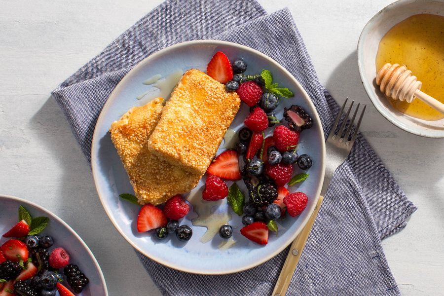 Sesame Fried Feta with Fresh Berries and Mint