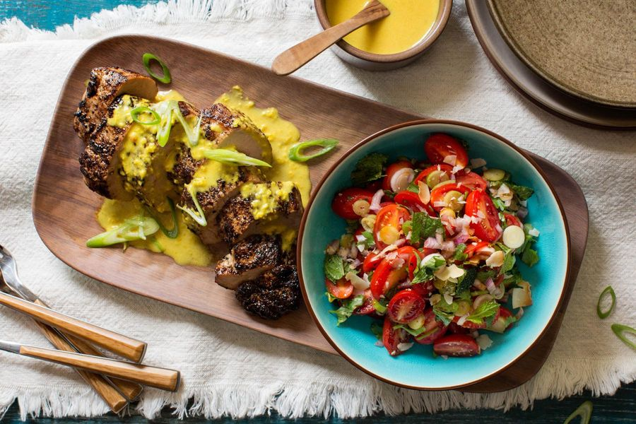 Thai-style pork tenderloin with lemongrass sauce and tomato salad