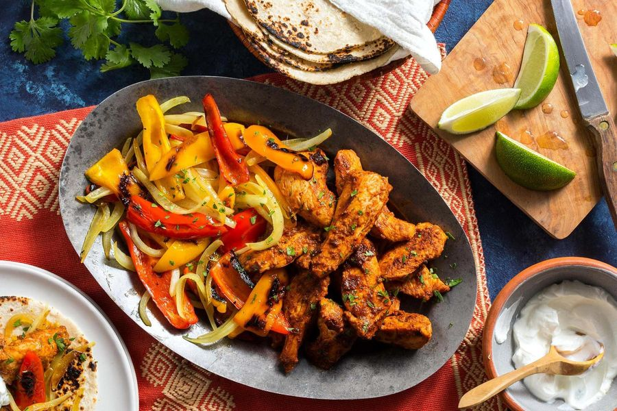 Fast New Mexican Chicken Fajitas with Sweet Peppers and Onion photo