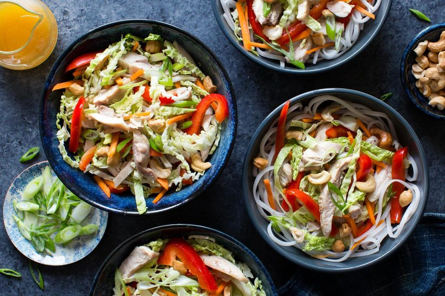 Chinese chicken salad with rice noodles and sesame-citrus dressing