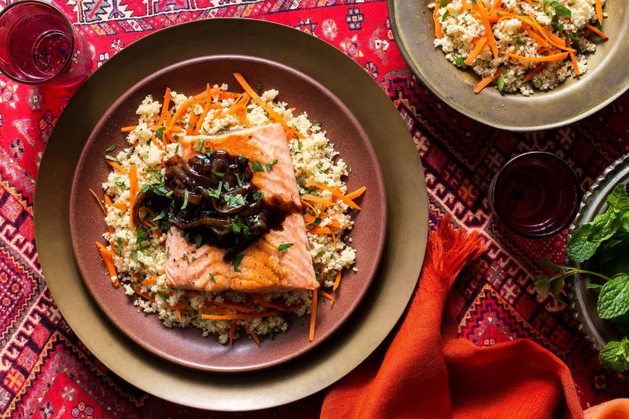 Persian tamarind salmon with caramelized onions and couscous