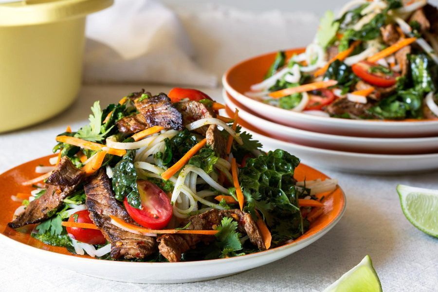 Beef and rice noodle salad with arugula pesto