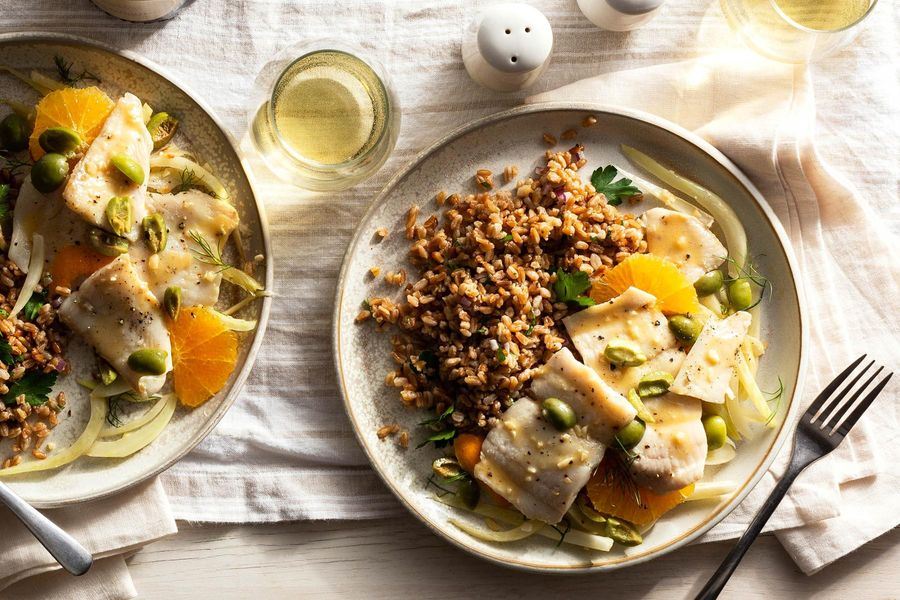 Sole and farro with fennel, oranges, and olives
