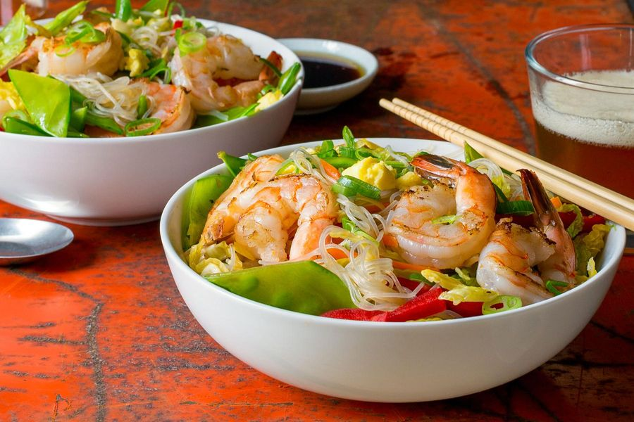 Singapore stir-fried glass noodles with shrimp and snow peas