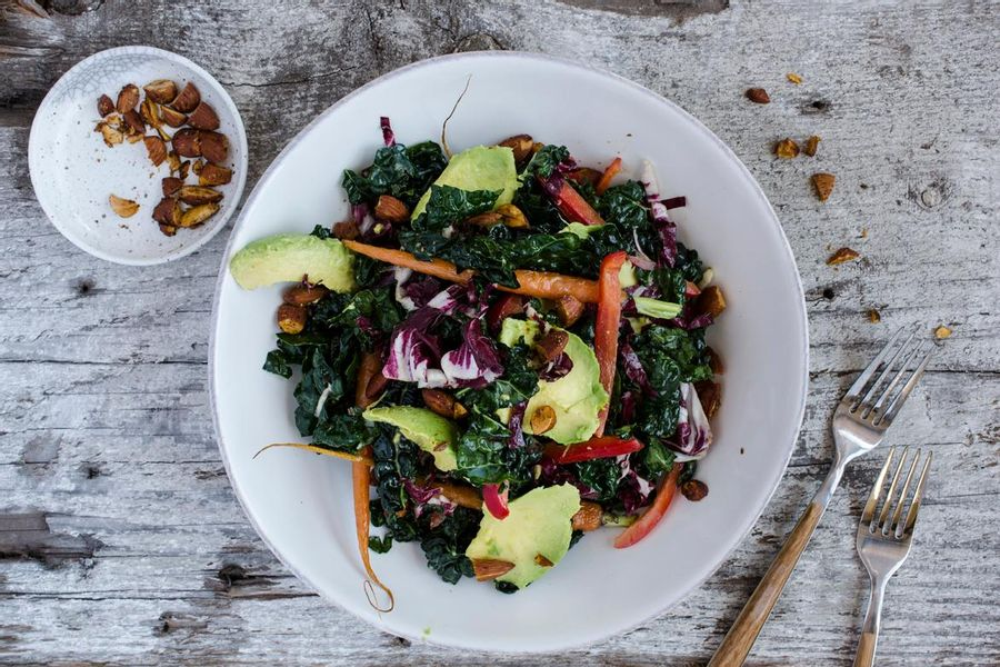 Kale salad with lemon-miso vinaigrette and toasted almonds