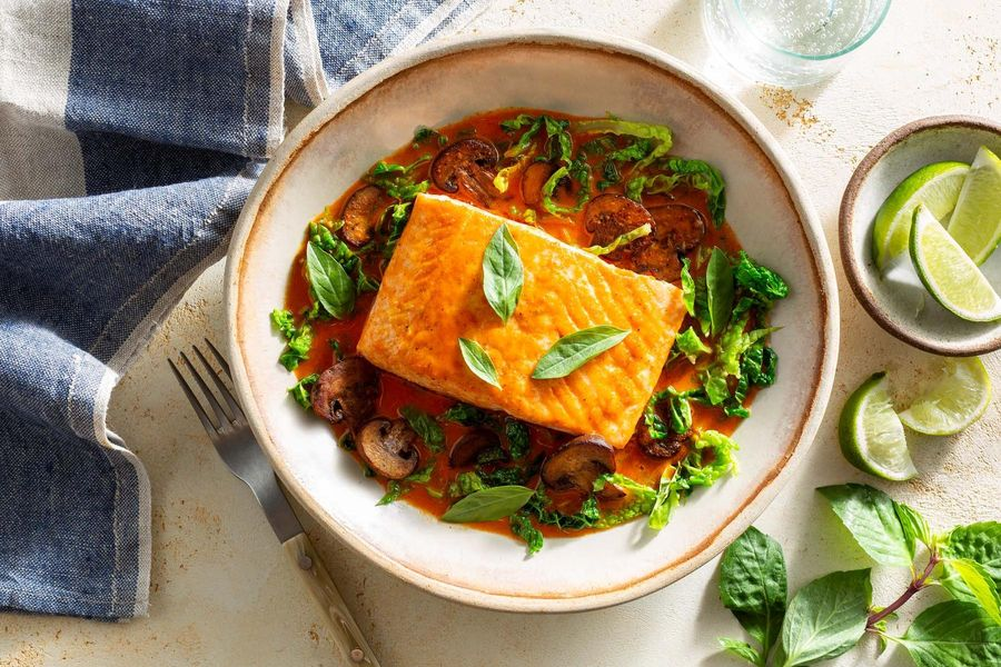 Thai-style salmon in spicy red curry