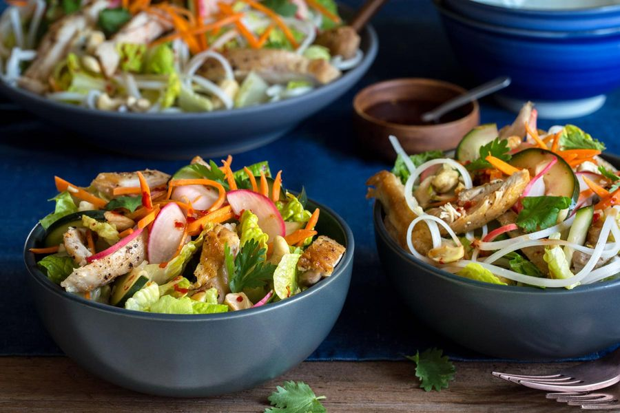 Vietnamese chicken salad bowls with pickled vegetables and nuoc cham