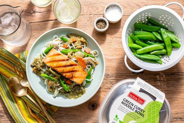 Green Curry Noodle Bowls with Salmon and Snap Peas