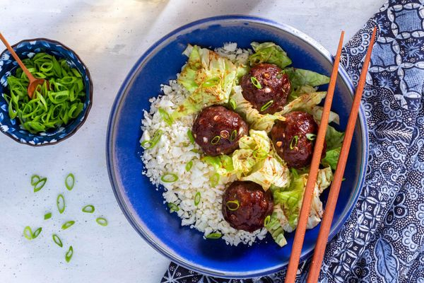 "Shanghainese meatballs with cabbage and char siu sauce over cauliflower ""rice"""
