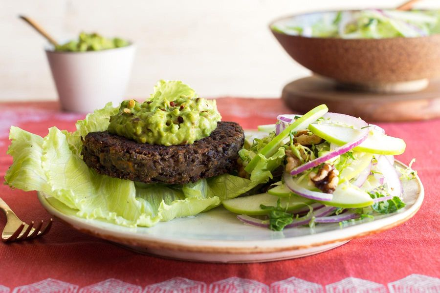 Lettuce-wrapped lentil burgers with avocado and Brussels sprout salad