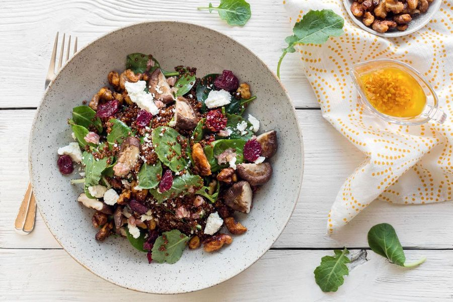 Warm quinoa salad with spinach and shiitakes