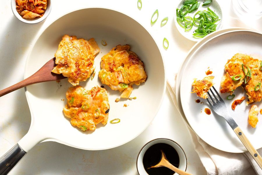 Shrimp-scallion pancakes with kimchi and cheddar