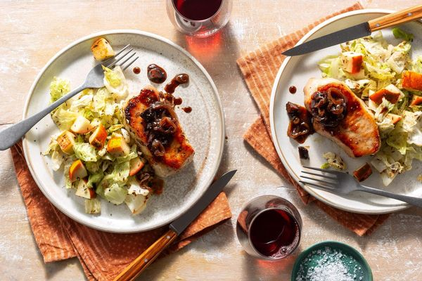 Pork chops with fig agrodolce and caraway cabbage